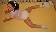 adorable adult-baby girl into cute position (adult-diaper abdl)