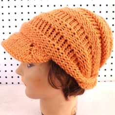 Hand Knit Hat Women OMBRETTA Newsboy Hat in by strawberrycouture