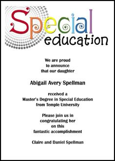 find your free special education graduate announcements and special needs graduation invitations for special ed commencement ceremony with lots of unique and helpful wording samples at InvitationsByU, card 7597IBU-OT with saving to 79¢
