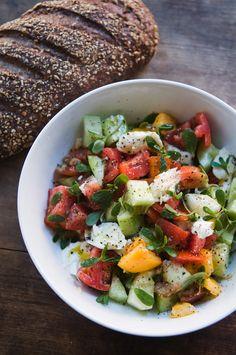 rustic bread, yummy salad  Eating Brooklyn: Foraged Wild Greens, Purslane and Lamb's Quarters