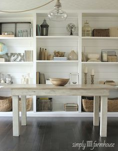 farm table, shelves with plank walls