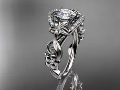 platinum diamond unique engagement ring,wedding ring ADLR211 - $2100.00 - Handmade Jewelry, Crafts and Unique Gifts by Anjays Designs