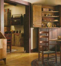 coloni decorroom, plates, plate racks, nice chair, primit decor, earli, countri, primitive homes