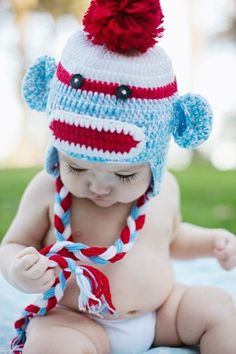 Crochet Baby blue and red sock monkey Hat in spring by KnitnutbyJL, $12.00