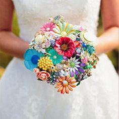 A fun, flirty & colourful rockabilly wedding with stunning brooch bouquets and a retro wedding car!
