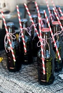 Rootbeer bottles tied with bakery twine and red/white striped straws bottl tie, stripe straw, paper straws, rootbeer bottle, parti