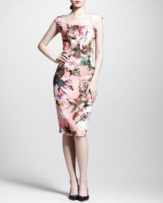 DOLCE & GABBANA Floral Square-Neck Sheath Dress