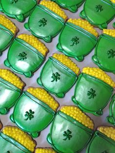Pots of gold cookies for St. Patrick's Day