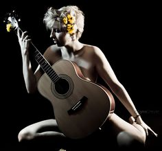 LynnD Photography: Calendar project - Flower Guitar girl          this but with some clothes on
