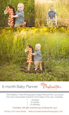 adorable 6 month old baby boy in outdor field of sunlight on rocking chair and polka dot rocking horse smiling at camera melissa treen photo...