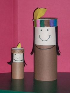 Thanksgiving Indian Craft - I need to remember to save the tubes from toilet paper & paper towel rolls!