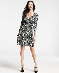 Abstract City Print 3/4 Sleeve Jersey Wrap Dress- Ann Taylor. I have been very drawn to black white prints of late.