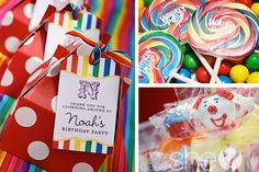 Love the favor boxes and notes for this clown party