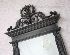 BLACK Framed HOLLYWOOD REGENCY Mirror For Sale by RevivedVintage, $174.00