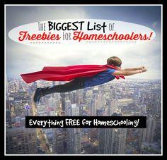 The BIGGEST List of FREEBIES for Homeschoolers! #homeschool #homeschooling #homeschoolfreebies