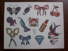 One for the ladies: Traditional Tattoo Flash Sheet. $10.00, via Etsy.