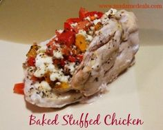 Baked Stuffed Chicken Recipe. A clean eating meal http://madamedeals.com/stuffed-chicken-recipes/ #recipes #inspireothers