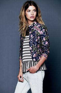 Dinner Party: Free People Jacket, Top & Jeans #Nordstrom #Holiday
