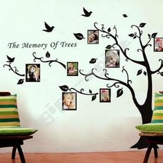 Love this wall art idea! Paint the tree, add the photo frames for a Family tree!