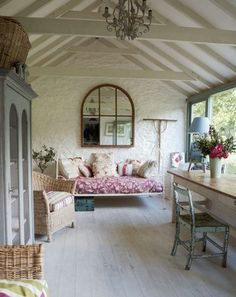 interior, dream, sun porches, cottage decorating, beam, cottages, hous, french cottage, sunroom