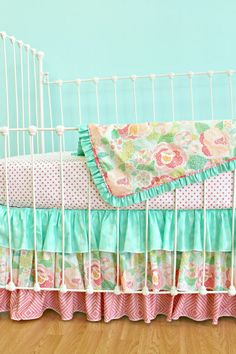 Bumperless Baby Girl Crib Bedding -  Salmon & Mint Mosaic Rose on Etsy, $345.00