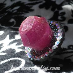 Raspberry Crush Glitter Ring Pop Ring Swarovski Crystal Kawaii. $20.00, via Etsy.