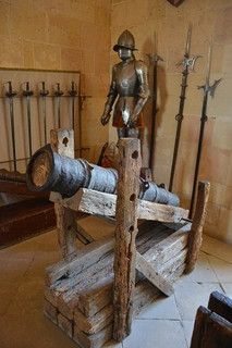 A wrought iron cannon dates to the 15th century. Alcázar castle in Segovia, Spain.