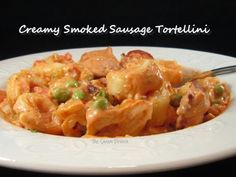 Creamy Smoked Sausage Tortellini - one-skillet supper that comes together quickly and easily. Delicious! sausag tortellini, smoke sausag, shadi porch