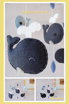Whale Mobile - Baby Mobile - Nursery Crib Mobile - Felt Fish Mobile - Navy Blue Whale family and fish theme(You can pick your colors) via Etsy