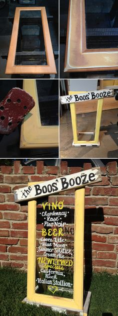 Chad did all of the building and woodworking. An old frame was refinished and transformed into a bar sign. Ashley did the lettering.