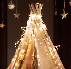 Love everything about this - from the twinkling lights on the tent to the stars strung from the ceiling on twine.