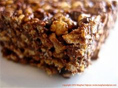 Chocolate Crispy Rice Squares rice squar, food, gluten dairy free, rice krispies, almond butter, gluten free, crispi rice, healthy treats, rice crispy treats