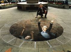 chalk drawings done by Julian Beever and Kurt Wenner