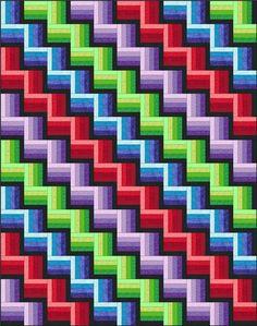3d illusion afghan block pattern   Rail Fence Quilt Pattern Designs / Easy Beginner Quilt Pattern