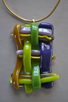 Fused Glass Woven Pendant