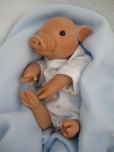 ooak polymer clay piglet by Silent Friends,