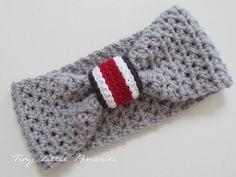 ohio state buckeyes, baby girl headbands, color, bow