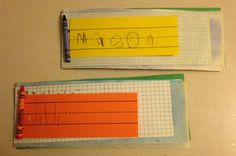 Kindergarten Name Books:  After learning and practicing to write our names many ways, teachers put work together in a Name Book.  Bind by stapling, then punching 2 holes.  Use a rubber band to go through the holes and around a crayon for the finishing touch!  These are great for Back to School night!