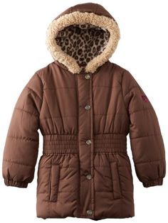 48% Off was $50.00, now is $25.95! Pink Platinum Girls Solid Cheetah Hooded Puffer Jacket