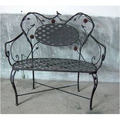 4D Concepts Bird and Flower Garden Bench in Black and Multicolor