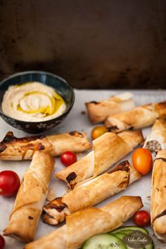 Baked Spicy Turkey and Filo pastry rolls.