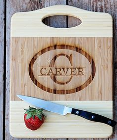 Two-Tone Strike-Through Engraved Personalized Cutting Board