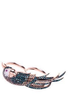 Parrot double finger ring by Niko Koulis