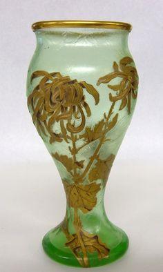 Mont Joye Cameo And Enamel Art Glass Vase.