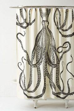 Octopus Garden Shower Curtain - eclectic - shower curtains - Anthropologie
