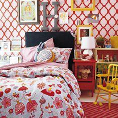 rabat stencil, girl bedroom, little girls, big girl, duvet cover, kids bedding, little girl rooms, kid room, accent wall
