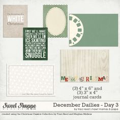 Free Christmas Themed Journaling Cards by Aaron Morris for Traci Reed Designs