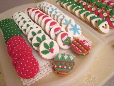 Decorated cookies at a red and green Christmas party #cookies #Christmas