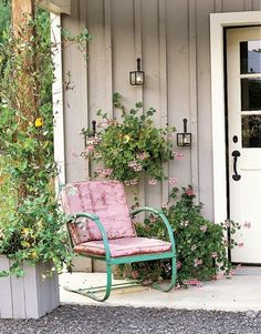 vintage chairs, garden chairs, country porches, cottag, garden seats, front doors, pink, flower, front porches
