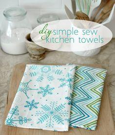 diy simple sew kitchen towels kitchens, tea towel, sew kitchen towels, diy simpl, kitchen decor, crafti, diy kitchen, simple napkins diy, dish towel
